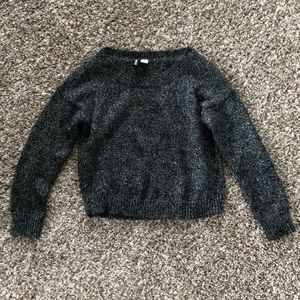 Metallic gray crop sweater